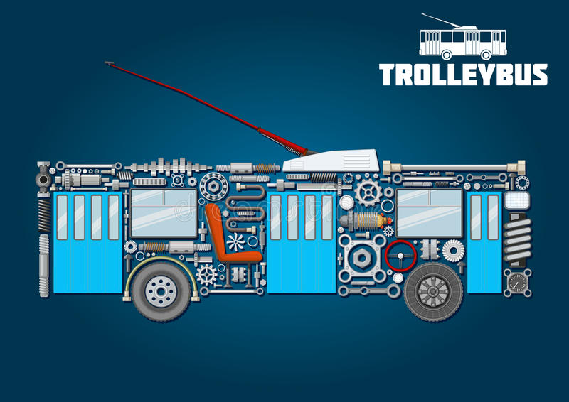 Trolleybus icon of detailed main components vector illustration