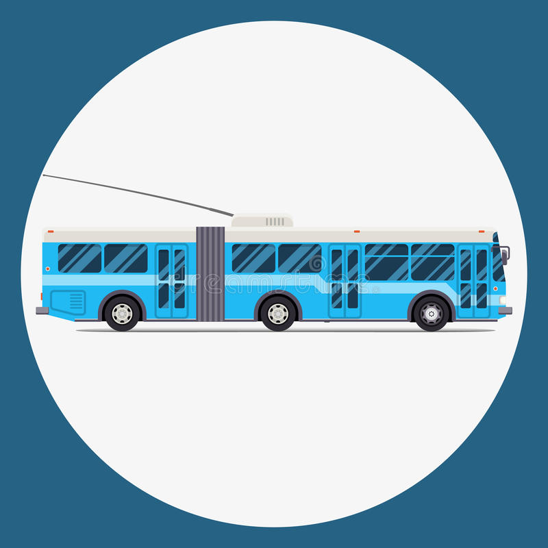 Trolleybus icon flat design. vector city transportation. royalty free illustration