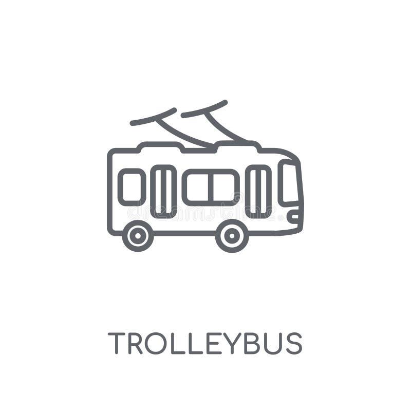 Trolleybus lineair pictogram Modern het embleemconcept o van de overzichtstrolleybus vector illustratie