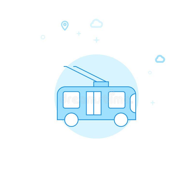 Trolleybus, Ongebaande Karretje Vlakke Vectorillustratie, Pictogram Lichtblauw Zwart-wit Ontwerp Editableslag royalty-vrije illustratie