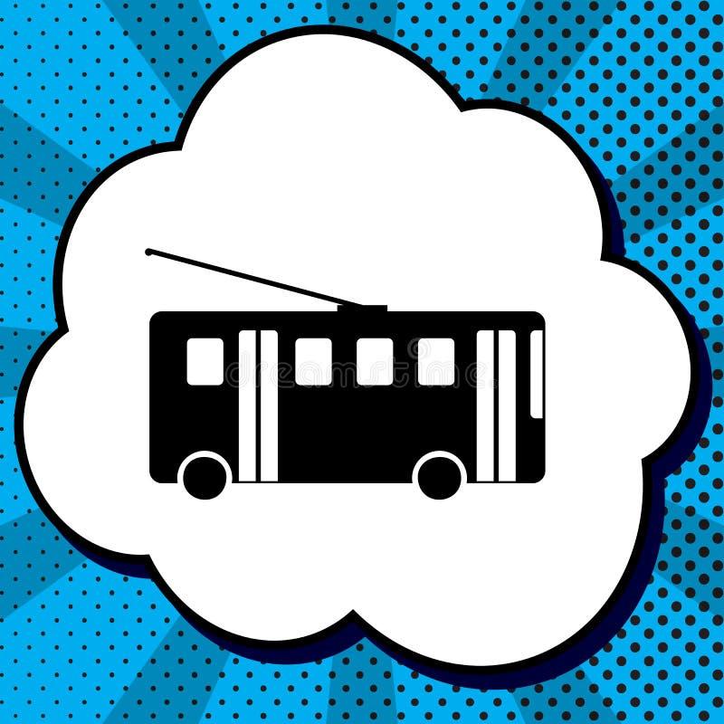 Trolleybus sign. Vector. Black icon in bubble on blue pop-art ba stock illustration