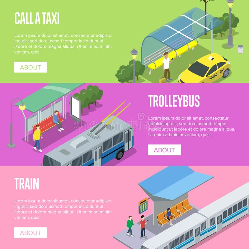 Trolleybus, taxi and train station posters vector illustration