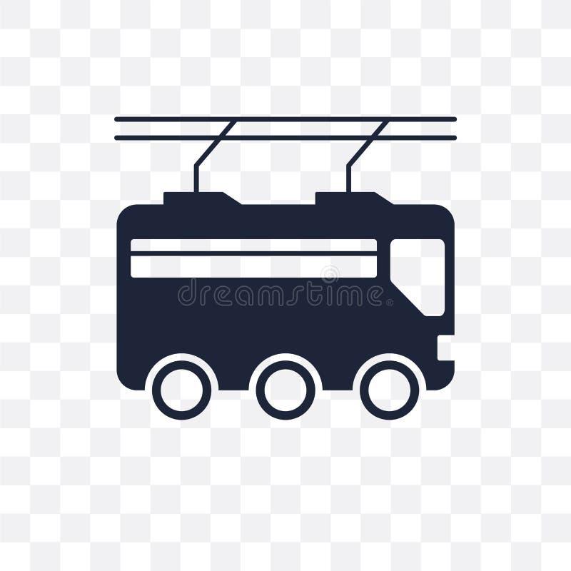 Trolleybus transparant pictogram Het ontwerp van het trolleybussymbool van trans royalty-vrije illustratie
