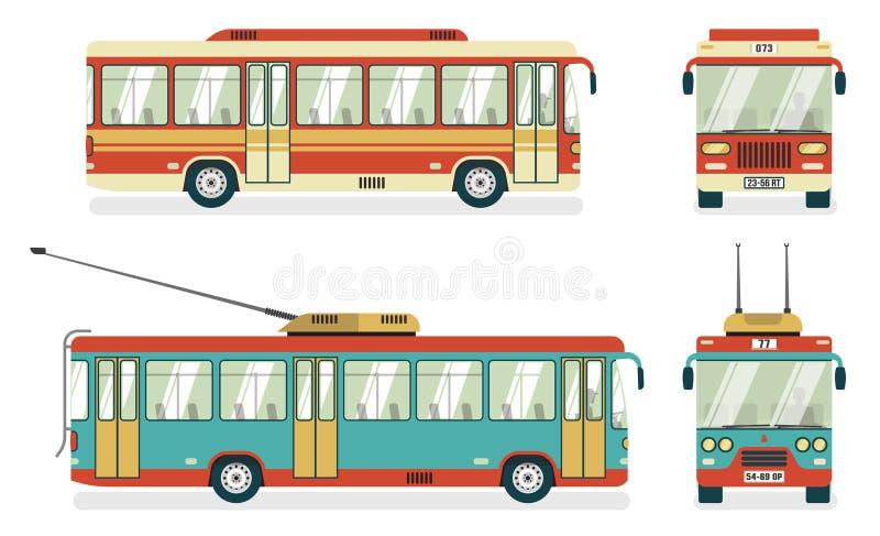 Trolleybus 4 van de openbaar Vervoerbus Pictogrammen vector illustratie