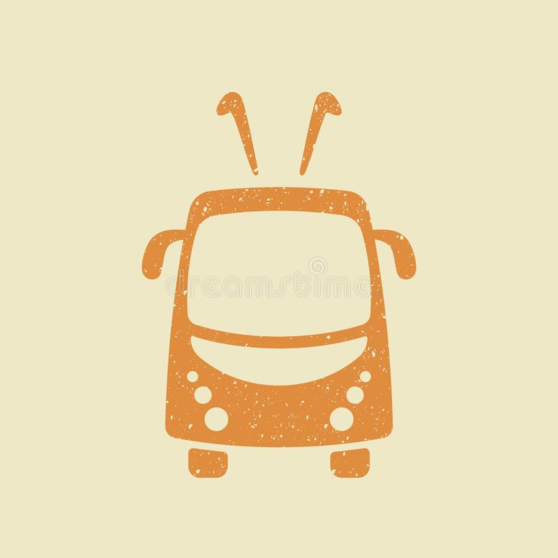 Trolleybus vector icon in grunge style royalty free illustration