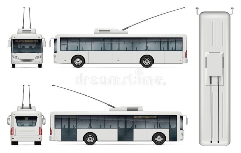 Trolleybus vectormalplaatje royalty-vrije illustratie