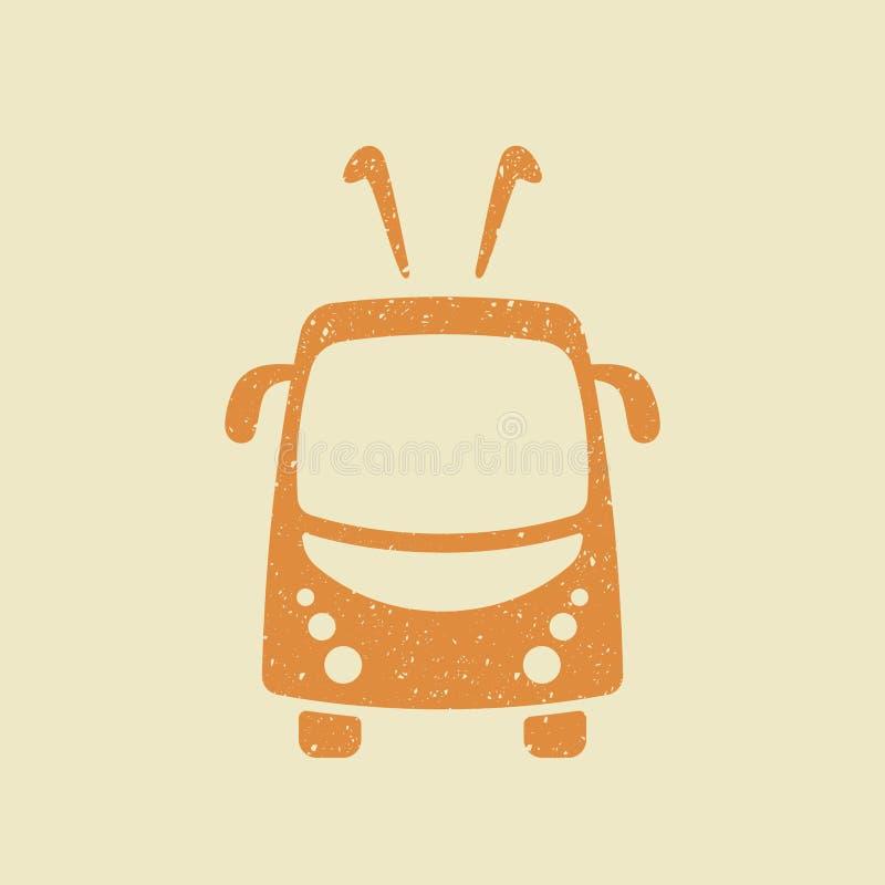 Trolleybus vectorpictogram in grungestijl royalty-vrije illustratie