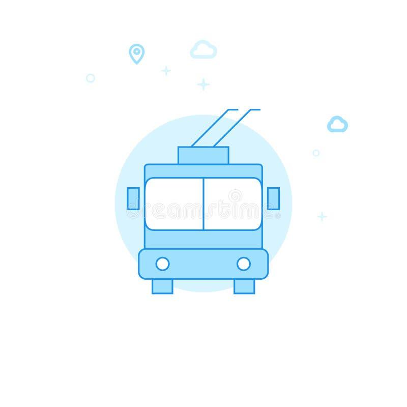 Trolleybus Vlakke Vectorillustratie, Pictogram Lichtblauw Zwart-wit Ontwerp Editableslag royalty-vrije illustratie