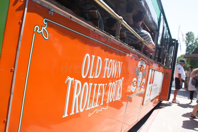 Trolleys Tour In Old Town San Diego, California Editorial Stock Photo