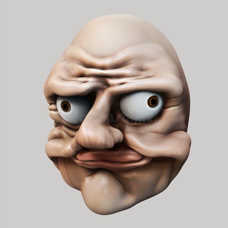 Trollface Иллюстрация тролля 3d интернета иллюстрация вектора