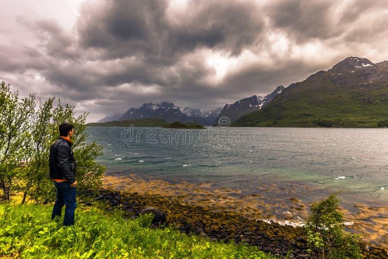 Trollfjord - June 15, 2018: Traveler beholding the narrow Trollfjord in the Lofoten Islands, Norway stock images
