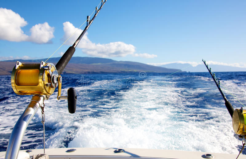 Trolling for big game stock photo image of reel seascape for Big game fishing rods
