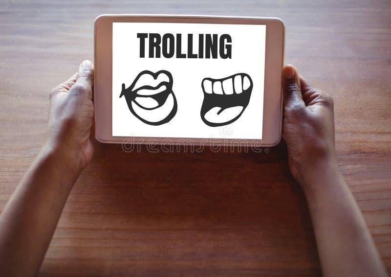 Trolling teksta i usta kreskówki na pastylce w rękach ilustracja wektor