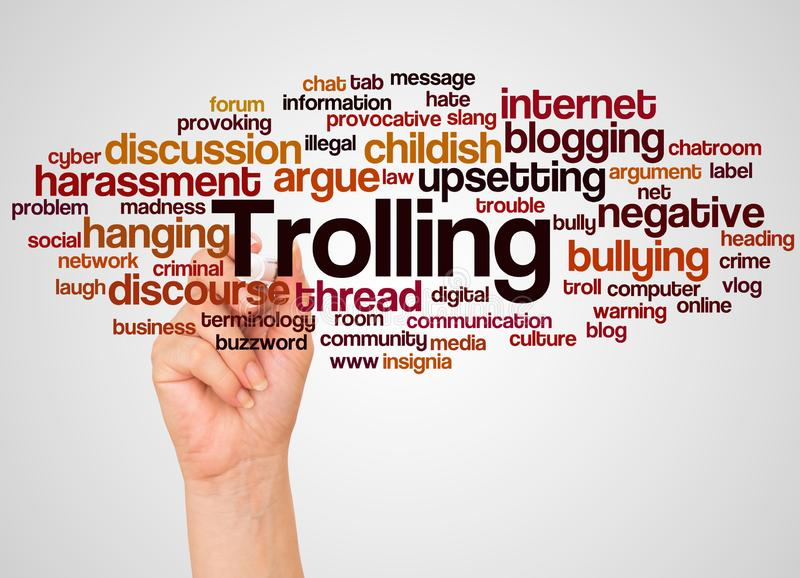 Trolling word cloud and hand with marker concept. On white background royalty free stock photos
