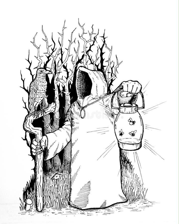 Trollkarl av den magiska skogen royaltyfria foton