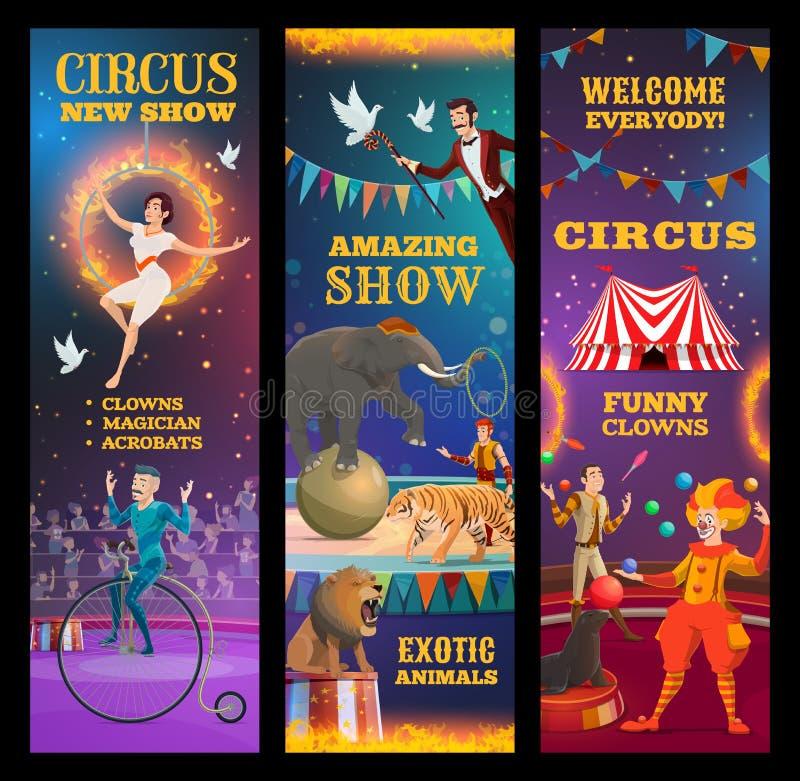 Trollkarl, djur, clown och akrobater i cirkus vektor illustrationer