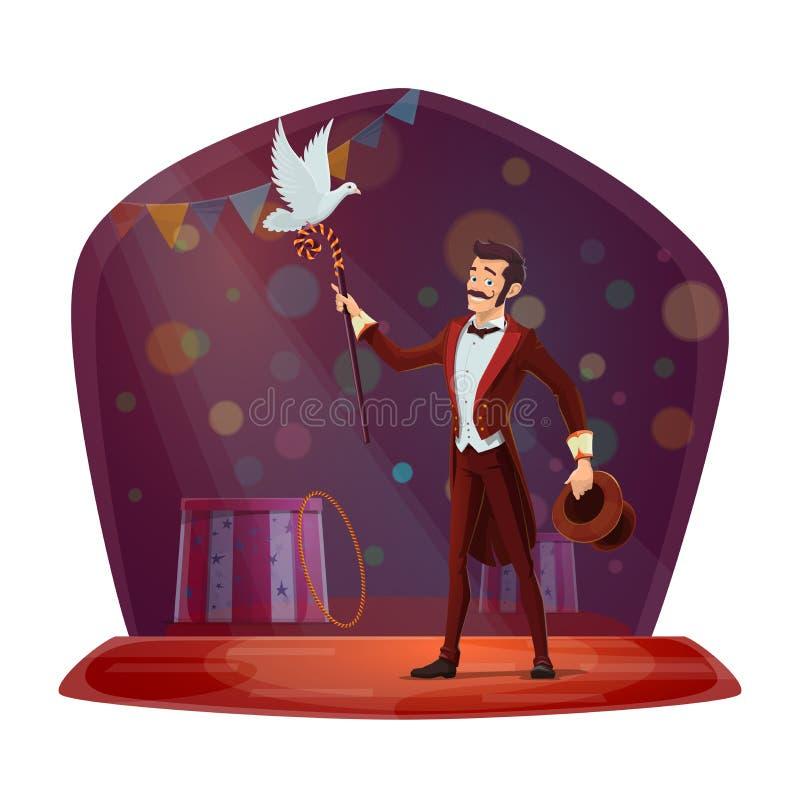 Trollkarl eller illusionist som utför trick stock illustrationer