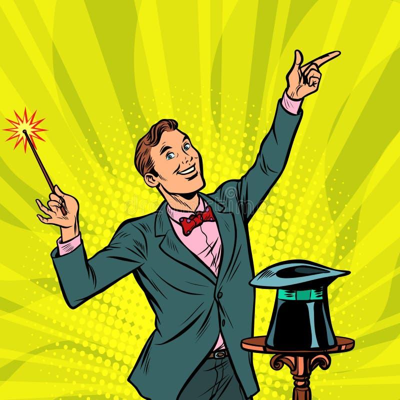 Trollkarl fantastisk kapacitet Cirkusartist trick stock illustrationer