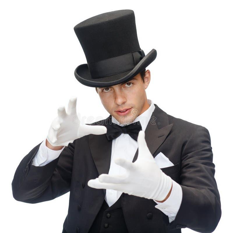 Trollkarl i visningtrick för bästa hatt royaltyfri foto