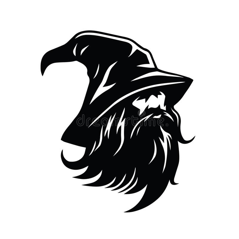 Trollkarl Logo Character Design Vector vektor illustrationer