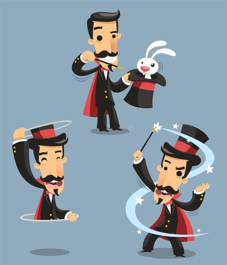 Trollkarl Magic Trick Performance stock illustrationer