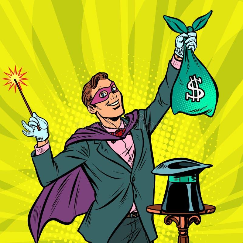 Trollkarl med dollarpengar vektor illustrationer
