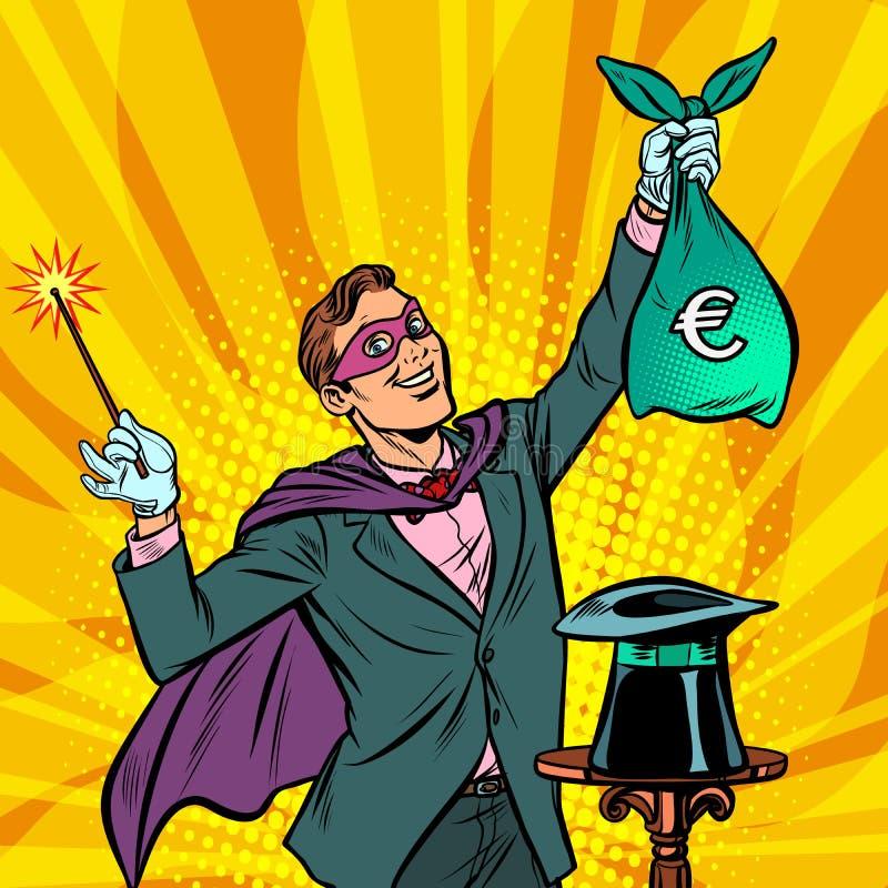 Trollkarl med europengar stock illustrationer