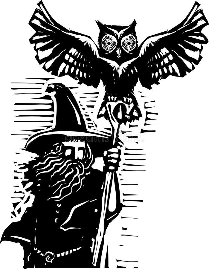 Trollkarl med ugglan stock illustrationer