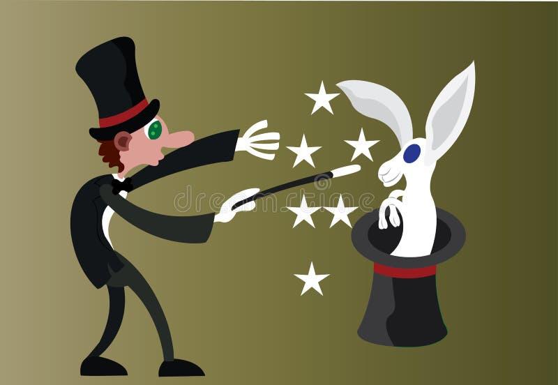 Trollkarl och hans trick stock illustrationer
