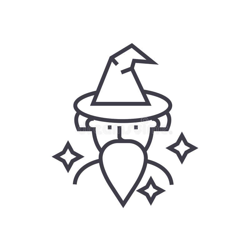 Trollkarl trollkarlvektorlinje symbol, tecken, illustration på bakgrund, redigerbara slaglängder vektor illustrationer