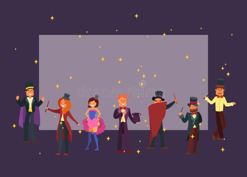 Trollkarlar i illustration för vektor för teater- eller cirkustecknad filmtecken Magisk warlock och magisk stava trollkarl, man vektor illustrationer