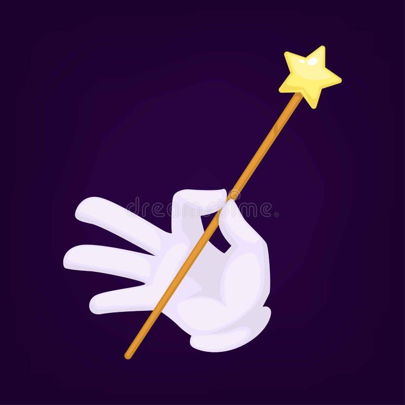 Trollkarlar räcker bärande handskar med trollstavvektorillustrationen vektor illustrationer