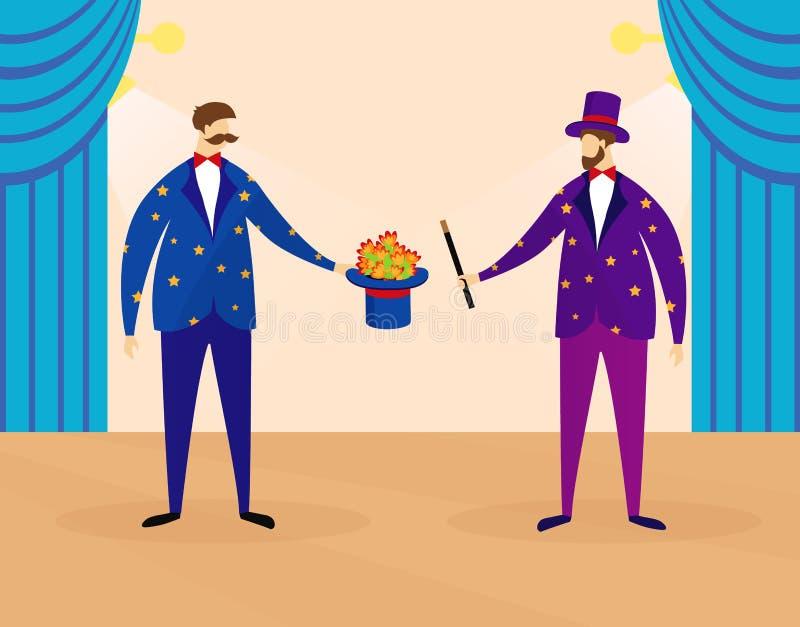 Trollkarlar som utför showen för ungar på cirkusetapp vektor illustrationer