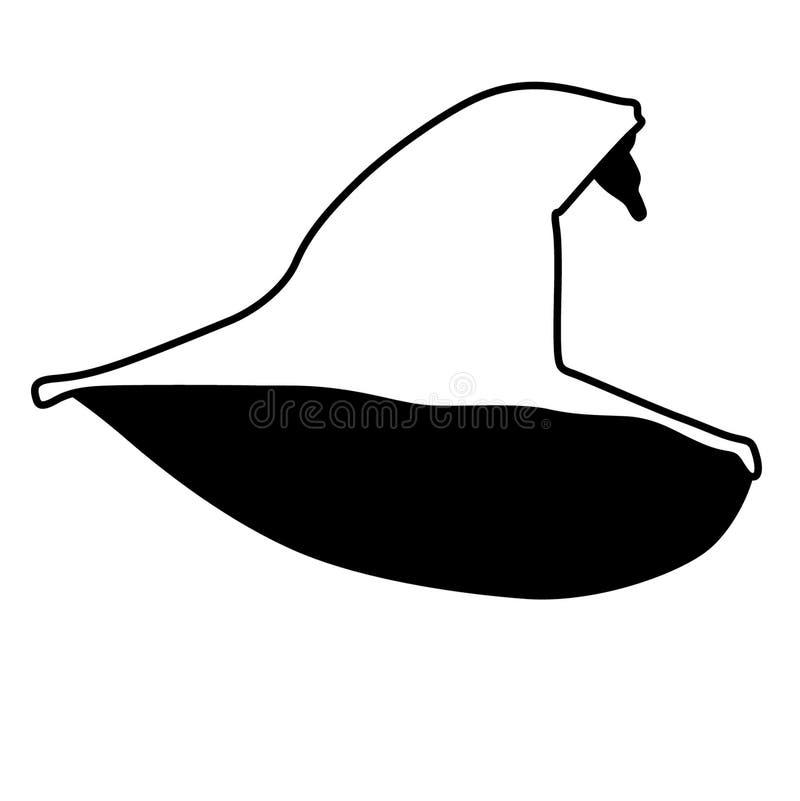 Trollkarlhattvektor, Eps, logo, symbol, konturillustration vid crafteroks för olikt bruk Bes?ka min website p? https://craftero royaltyfri illustrationer