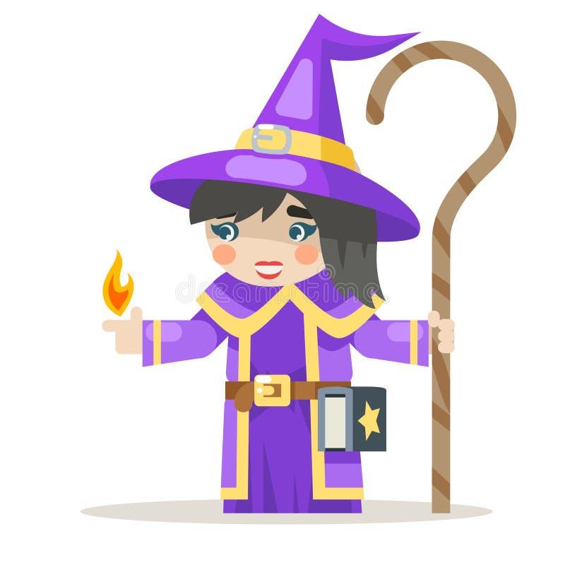Trollkvinna varvad vektor för kvinnlig för fantasi för wisewoman för flickamagewarlock klar medeltida för handling för RPG för le royaltyfri illustrationer