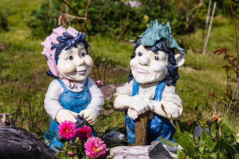Trolls. In a garden somewhere in Norway royalty free stock image