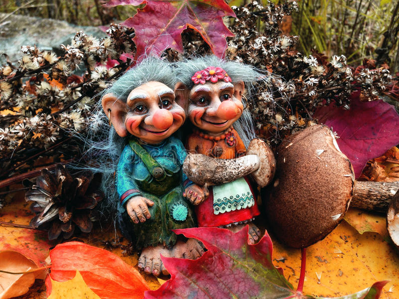 The trolls in the forest, Mushrooms, Autumn. Trolls Mushroom Fungi Troll Norwegian Autumn Forest Wood Cones Tales Darktales Colors stock image