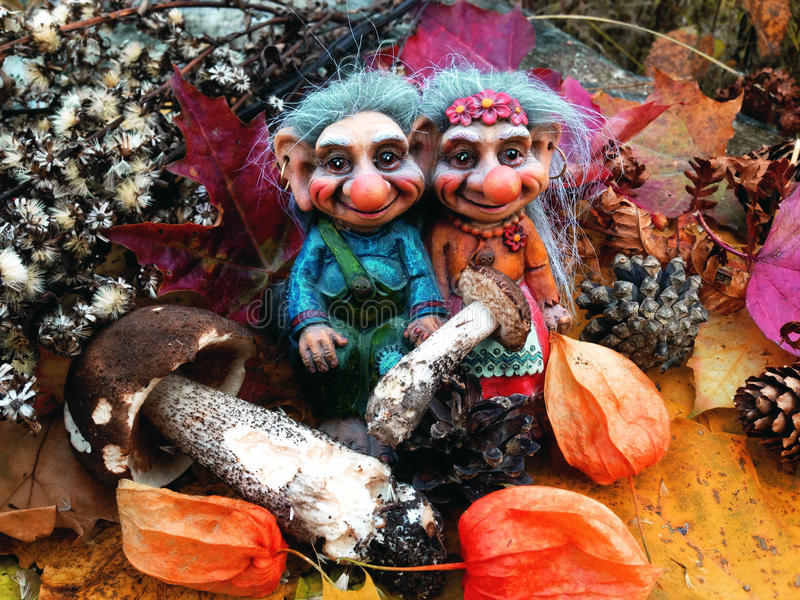 The trolls in the forest, Mushrooms, Autumn. Trolls Mushroom Fungi Troll Norwegian Autumn Forest Wood Cones Tales Darktales Colors stock images