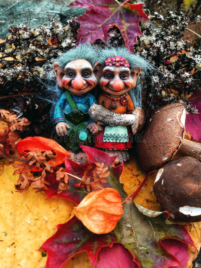 The trolls in the forest, Mushrooms, Autumn. Trolls Mushroom Fungi Troll Norwegian Autumn Forest Wood Cones Tales Darktales Colors royalty free stock photo