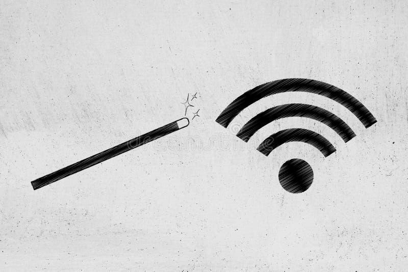 Trollspö bredvid symbolet wi-fi vektor illustrationer