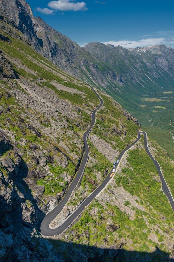 Trollstigen, дорога горы в Норвегии стоковое фото rf