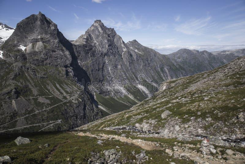 Trollstigen -拖钓的道路山路在挪威 免版税库存照片