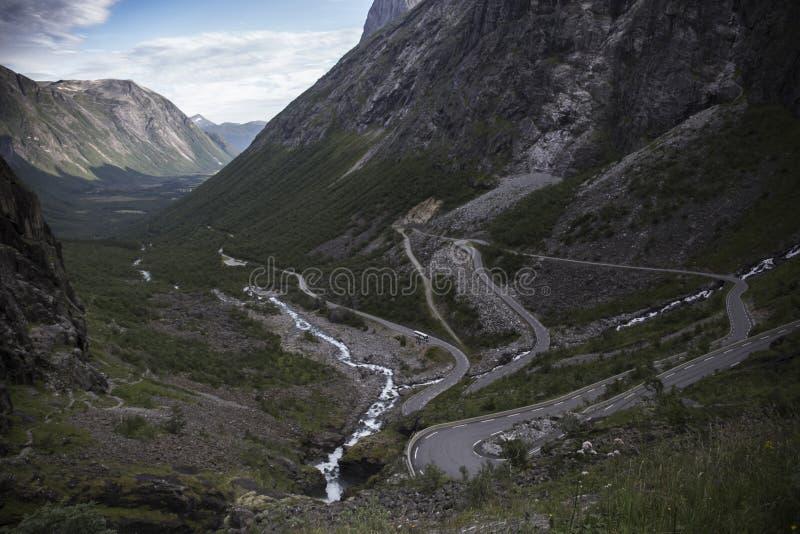 Trollstigen, Bridge - Trolls' Path Mountain Road in Norway royalty free stock photos