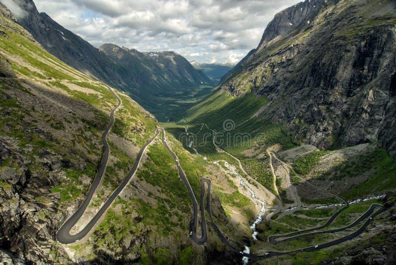 Trollstigen (Troll μονοπάτι), Νορβηγία στοκ εικόνες