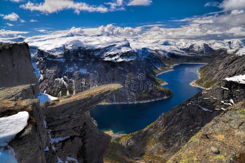 Trolltunga,挪威 免版税库存照片