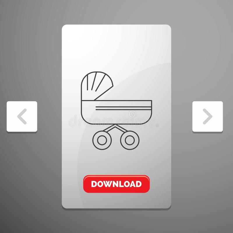 Trolly, baby, kids, push, stroller Line Icon in Carousal Pagination Slider Design & Red Download Button. Vector EPS10 Abstract Template background royalty free illustration