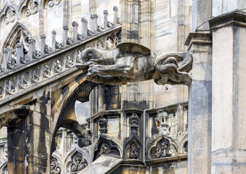 Tromba marina de la gárgola, di Milano, la iglesia de Milan Cathedral o del Duomo de la catedral de Milán, Lombardía, Italia foto de archivo libre de regalías