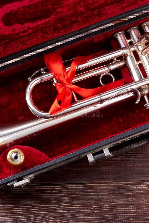 Tromba o cornetta in caso del velluto fotografia stock libera da diritti