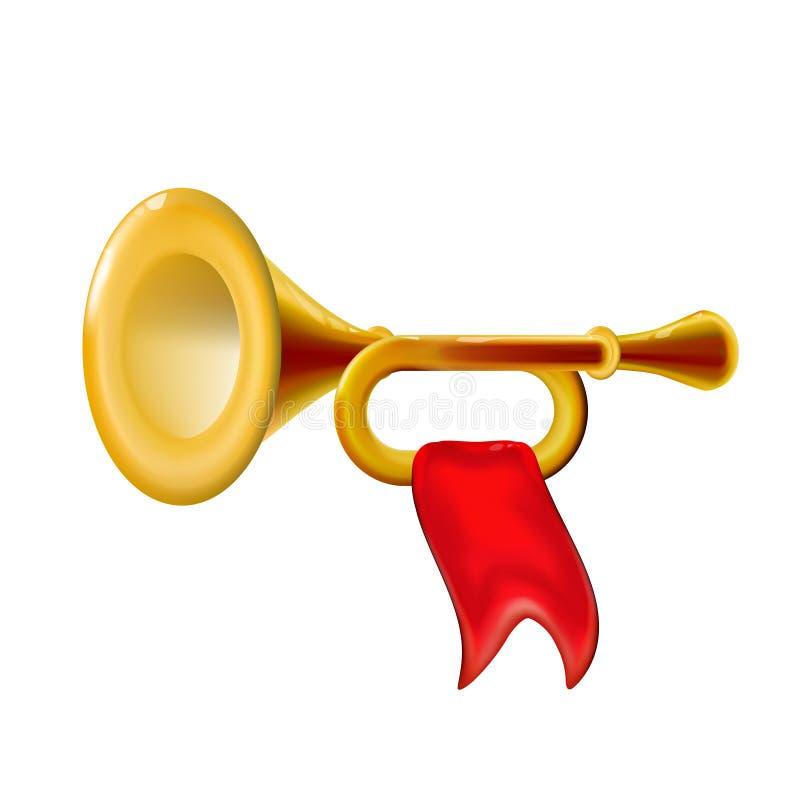 Tromba realistica dell'oro di fanfara 3d, icona con il segno lucido dello strumento musicale del vento isolato bandiera rossa, de illustrazione di stock