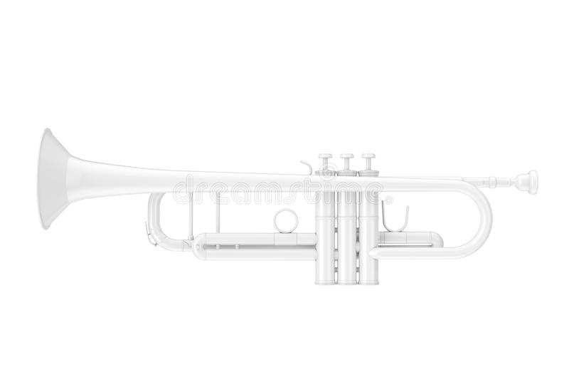 Trombeta branca em Clay Style rendição 3d ilustração stock